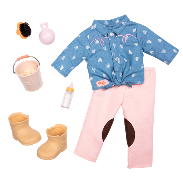 18-inch Equestrian Doll Horseback Riding Outfit Heart Shirt Pink & Blue