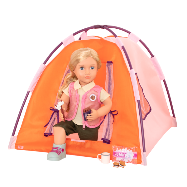 All Night Campsite 18-inch Doll Indoor Outdoor Camping Tent Playset