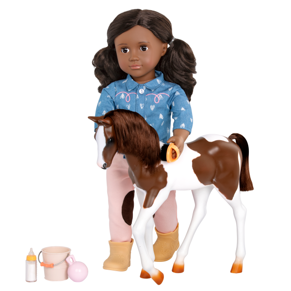 18-inch Equestrian Doll Daveen & Horse Foal Grooming Accessories
