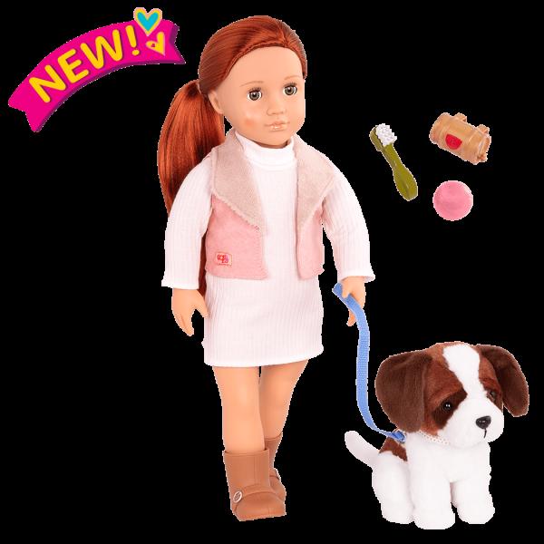 18-inch Doll and Pet Set Delphia & Plush Dog