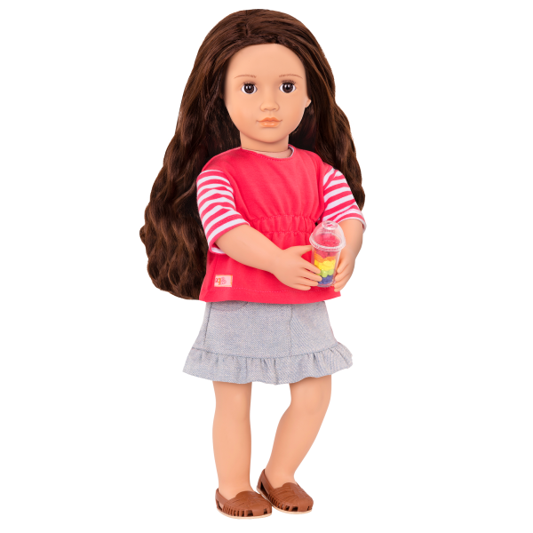 Rayna wearing casual outfit with fruit cup