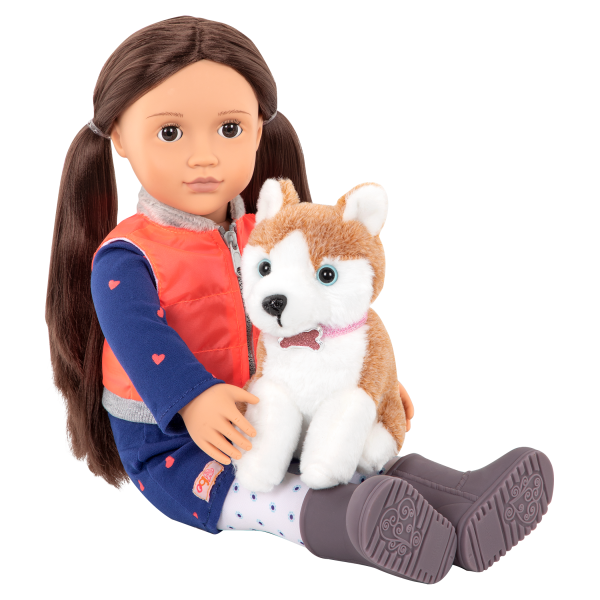 Leslie with pet Husky