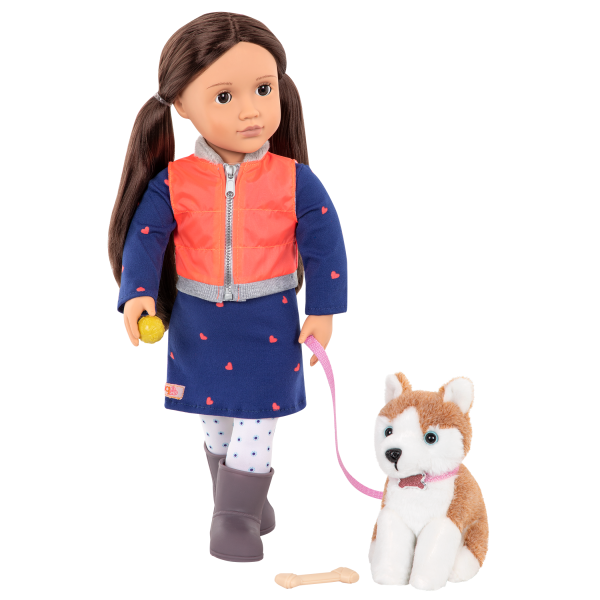Leslie and Husky 18-inch doll and Pet Set