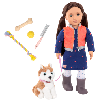 Leslie and Husky 18-inch doll and Pet