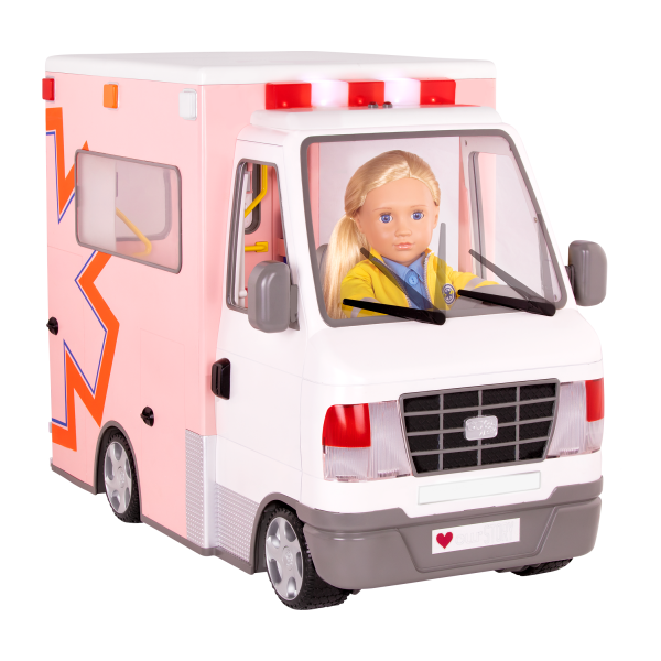 Rescue Ambulance 18-inch Doll Vehicle Playset Pink