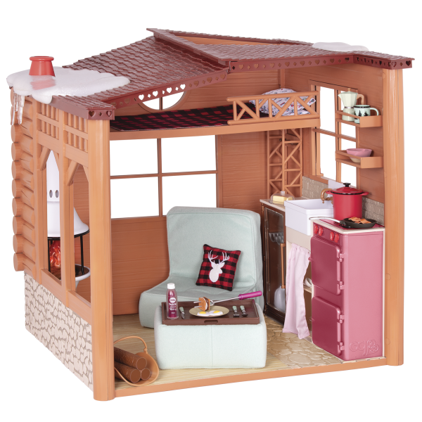 Cozy Cabin Dollhouse Playset Furniture for 18-inch Dolls