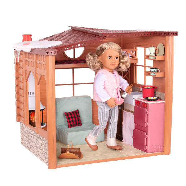 Cozy Cabin Dollhouse Playset for 18-inch Dolls Light-up Stove