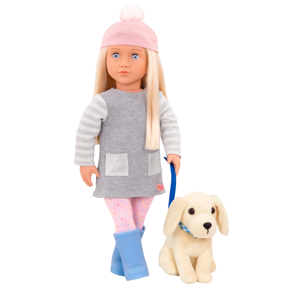 18-inch Doll Meagan & Passenger Pets Travel Set Plush Dog