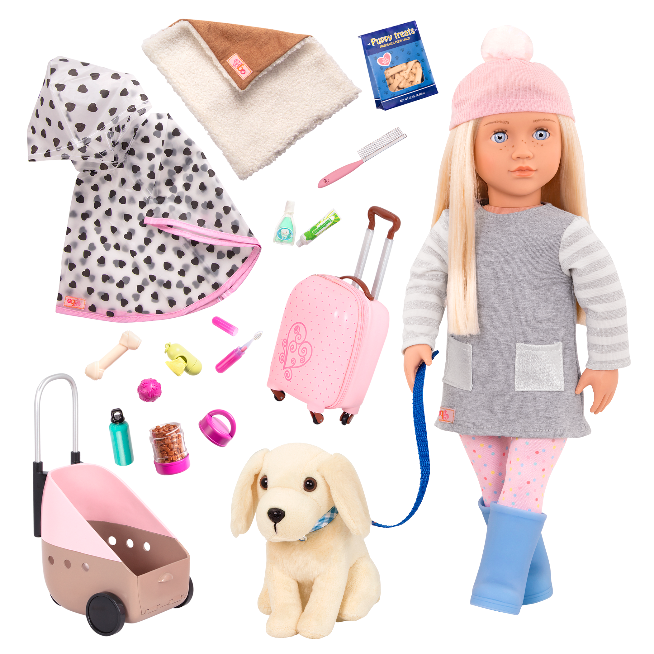 18-inch Doll Meagan & Passenger Pets Travel Set Bundle