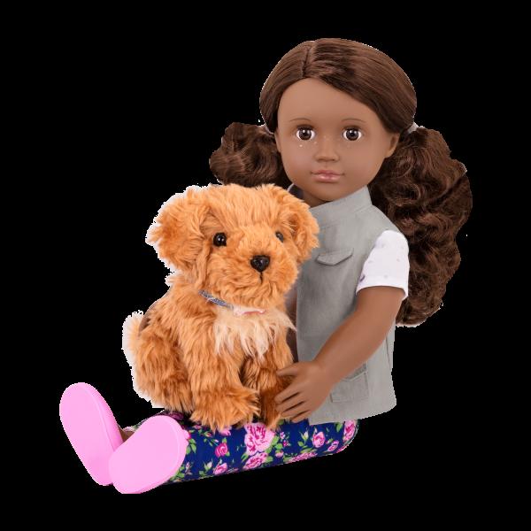 18-inch Doll Malia & Passenger Pets Travel Set Plush Dog