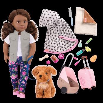 18-inch Doll Malia & Passenger Pets Travel Set Bundle
