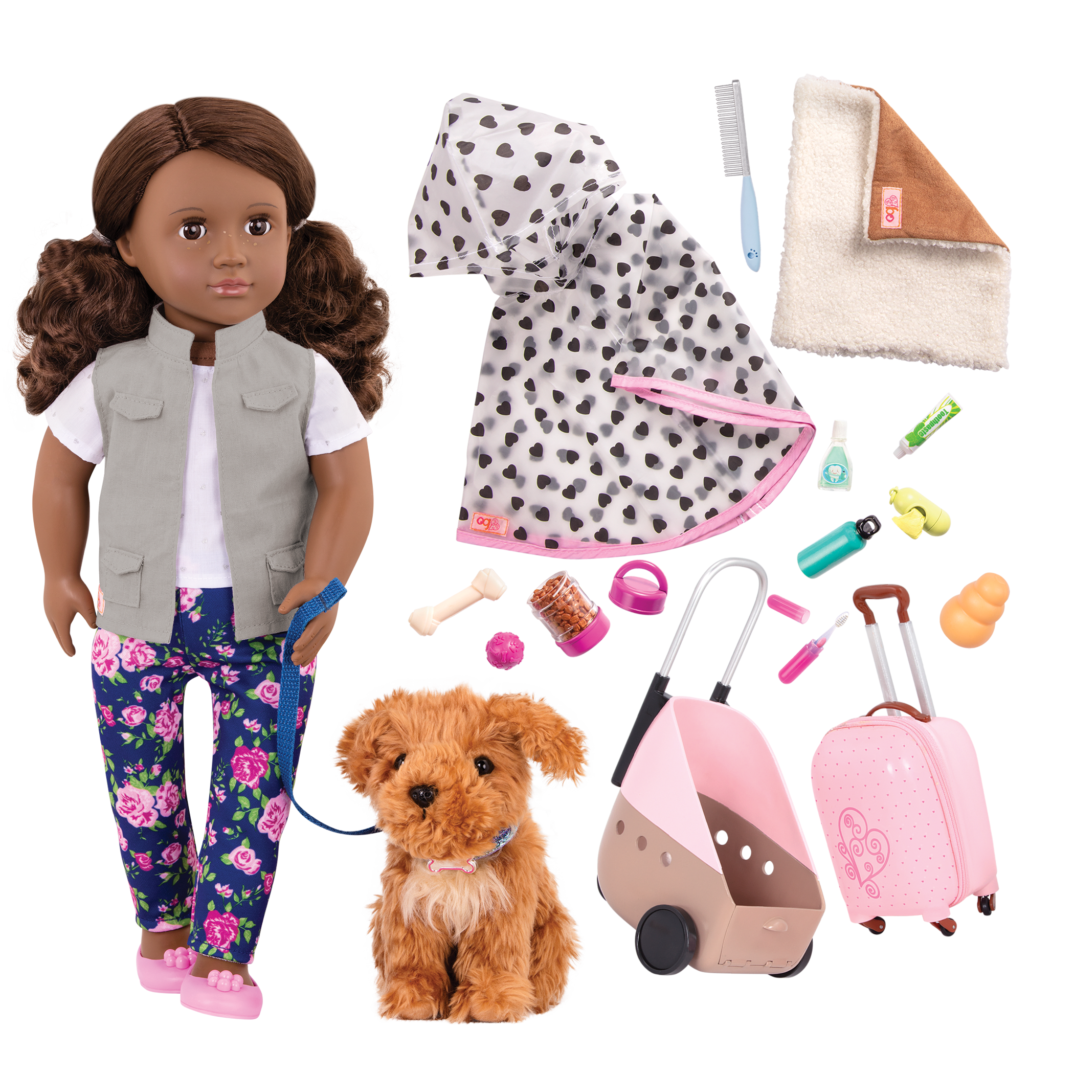 18-inch Doll Malia & Passenger Pets Travel Set Bundle
