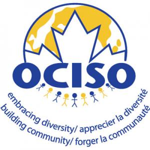 OCISO logo:a globe, Canadian flag, newcomers and this message: embracing diversity, building community