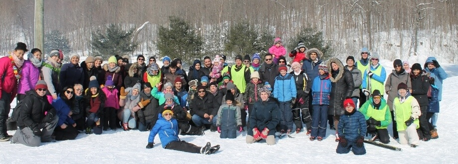 Newcomers enjoying a day of cross country skiing