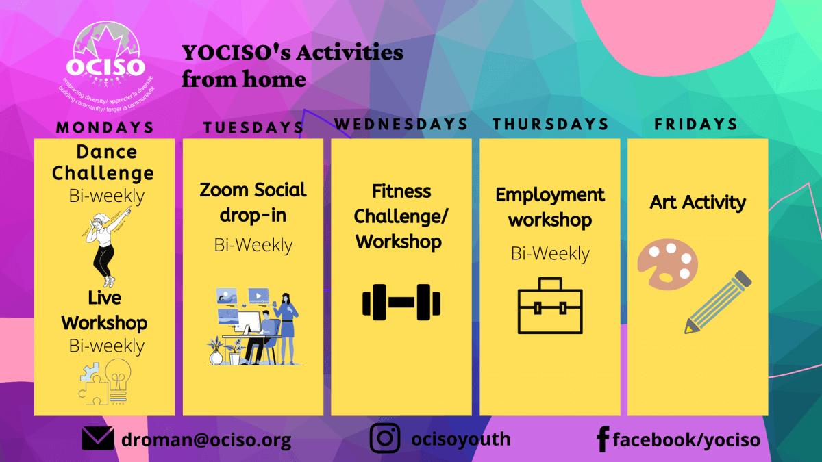 YOCISO at Home activities calendar