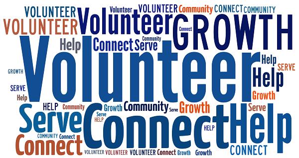 Word cloud image of volunteering