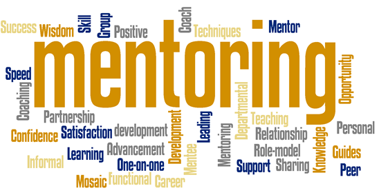 Word cloud image of mentoring volunteer