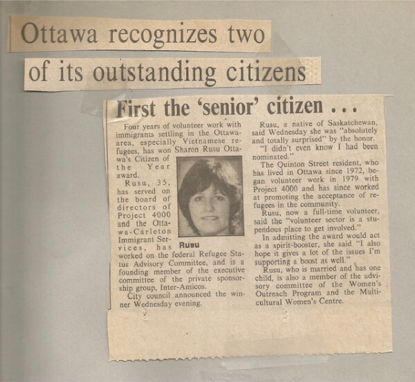 Image of a newspaper article about Susan Rusu, board member from 1980 to 1981 and board chair from 1982 to 1983