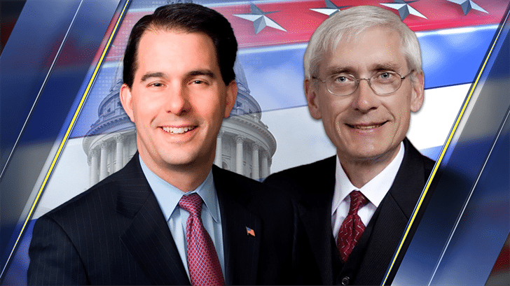Picture of Governor Scott Walker and of Tony Evers