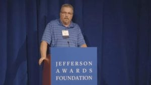 Bob Milisch speaks at the national Jefferson Awards gala in Washington D.C.