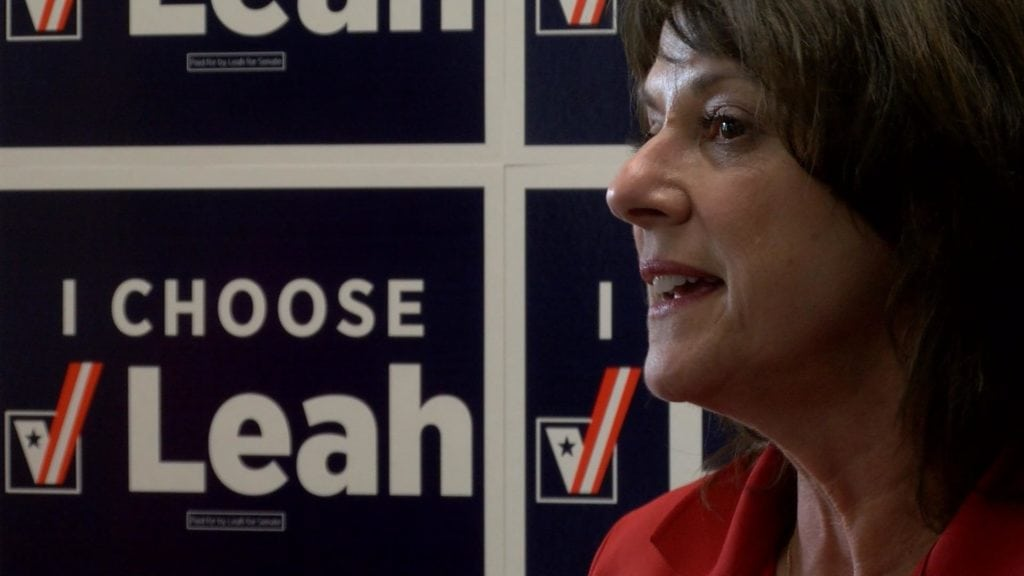 Leah Vukmir talking in front of a Leah Vukmir sign.
