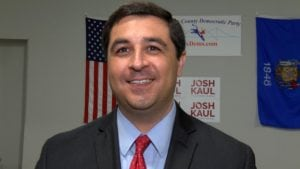 Democratic candidate for Wisconsin Attorney General Josh Kaul smiles for the camera.