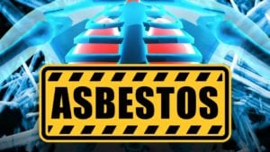 asbestos-picture of sign with skeleton,lungs