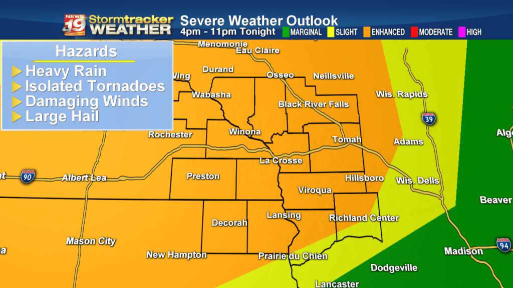 A Line of Strong to Severe Storms Likely Tonight…