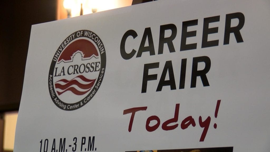 Sign for career fair at UW-La Crosse