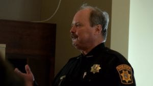 La Crosse County Sheriff Steve Helgeson talks during a community discussion.