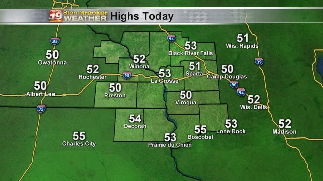 Highs Friday PM