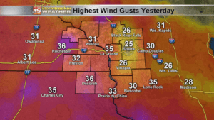 Yesterday's Highest Wind Gusts
