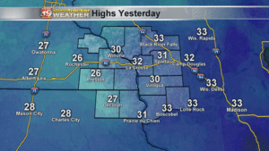High Temperatures Yesterday