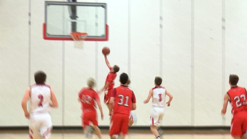 A Bangor player goes up for a layup.