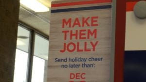 Sign reads Make them Jolly.