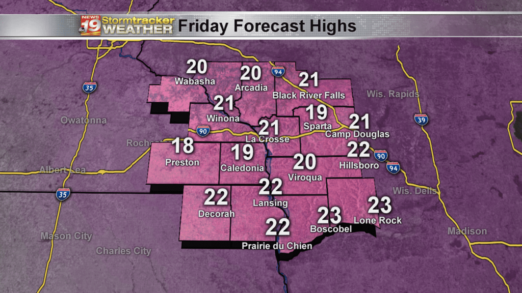 Forecast Highs Friday