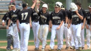 Tate Meiners celebrates with his teammates after hitting a home run.