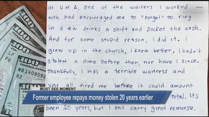MUST SEE: Former employer repays money stolen 20 years earlier