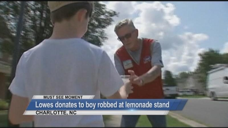 MUST SEE: Lowes donates to boy robbed at lemonade stand