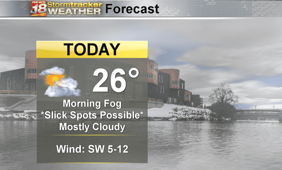 Weather Outlook: Morning fog causing slick spots and lower visibility