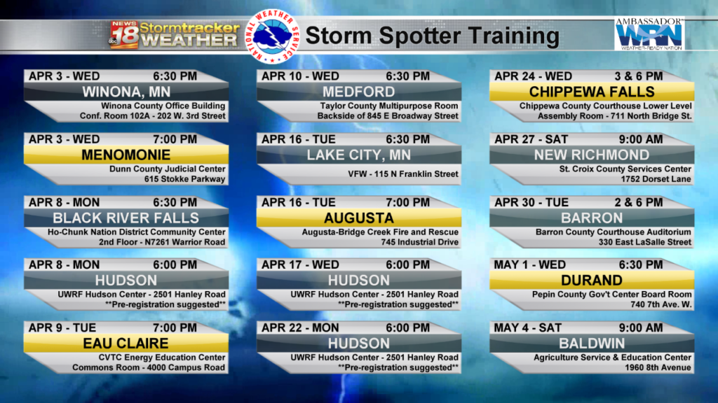 """Become a storm spotter- here's the list of 2019 National Weather Service """"Skywarn"""" Training classes"""