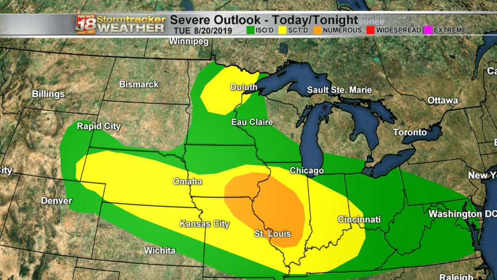 Large hail and damaging wind gusts possible with isolated severe storms today