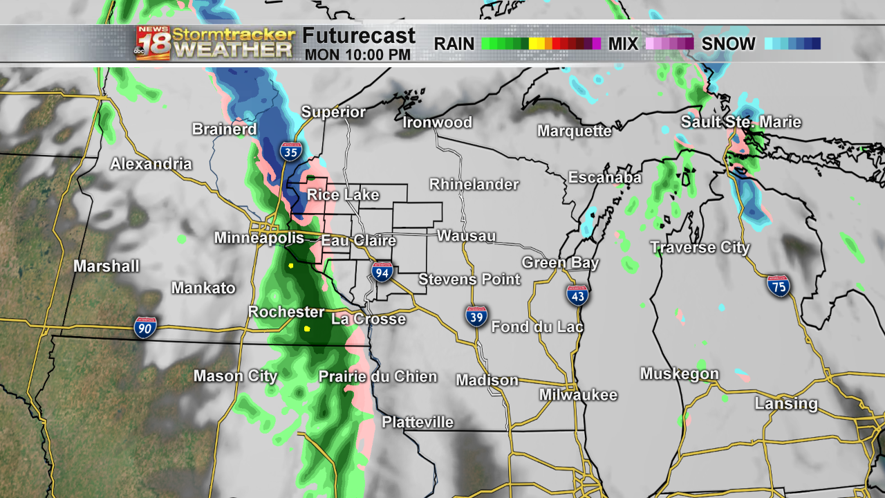 Rain to snow mix possible late Monday, warmer temperatures hang around this week