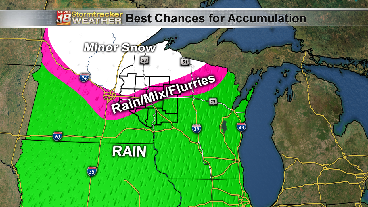 Moderate rain replaces dense fog, some accumulating snow possible too