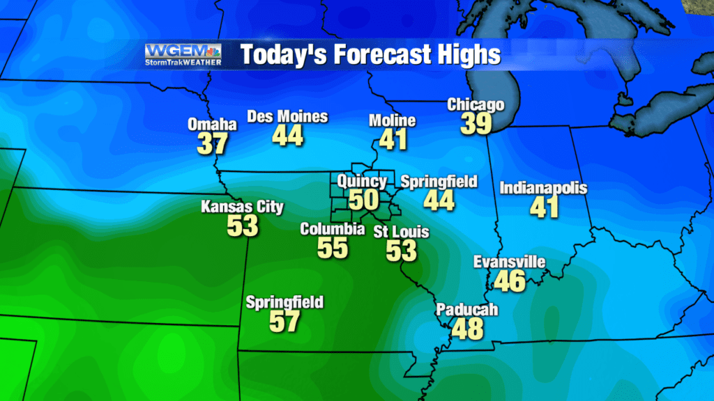 Mild temperatures near 50 degrees expected today