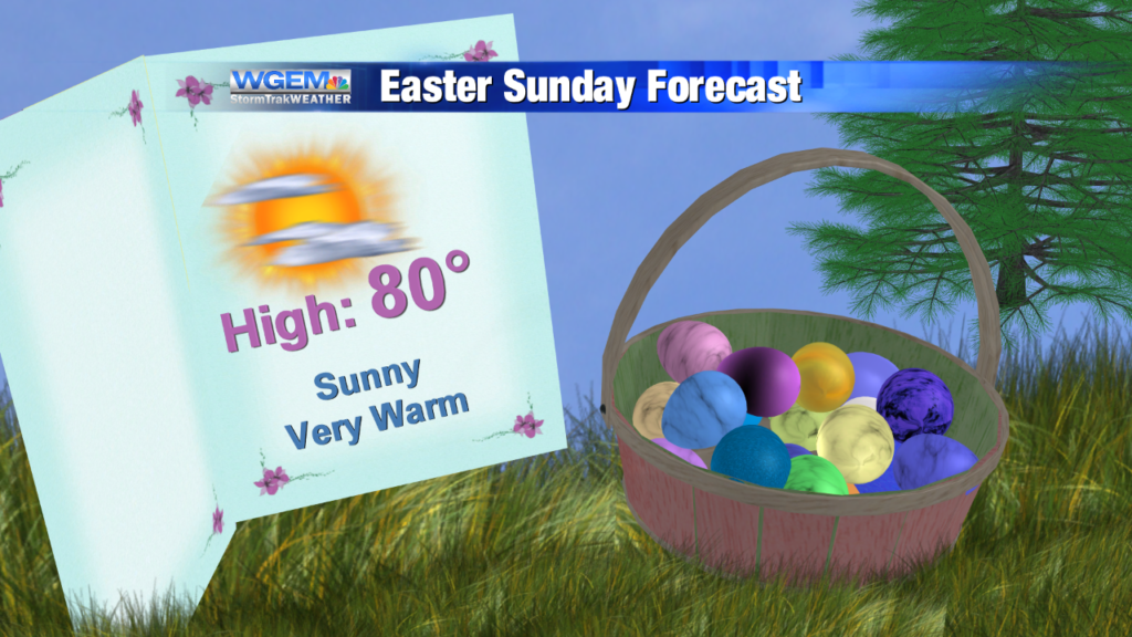 Dry and warmer weather continues for Easter Sunday