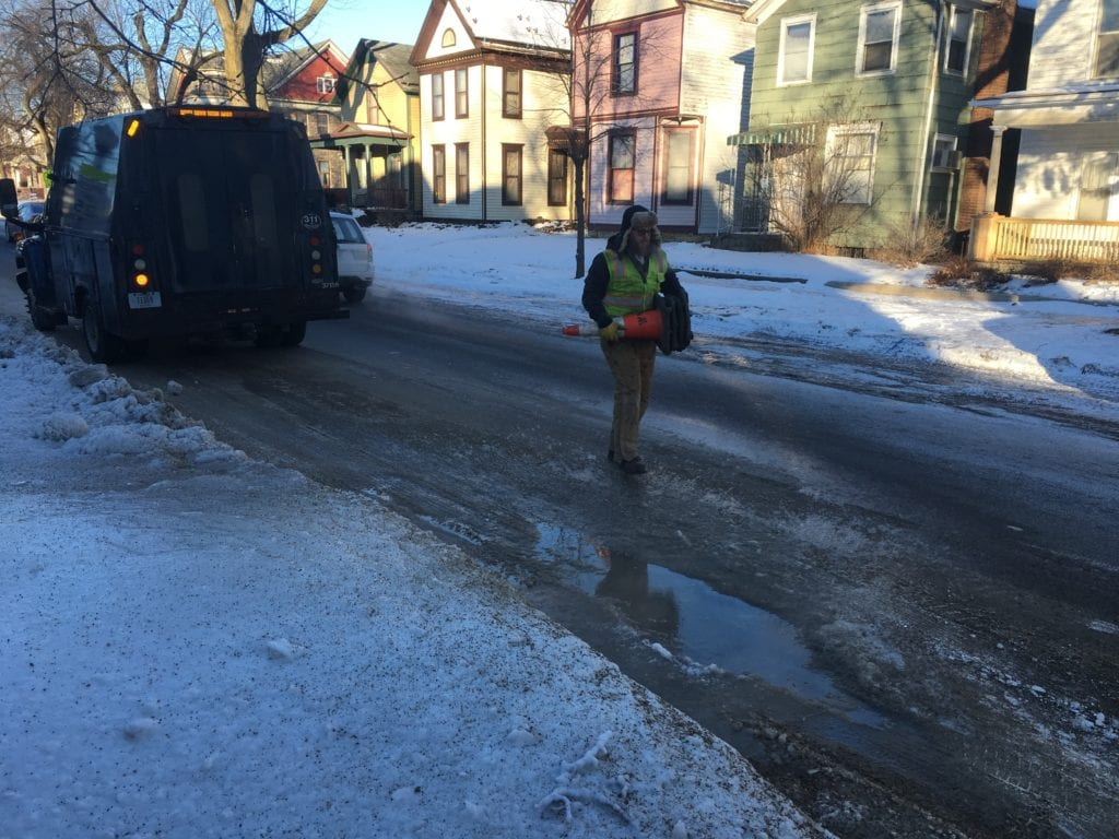 City Workers Deal With Water Main Breaks During Deep
