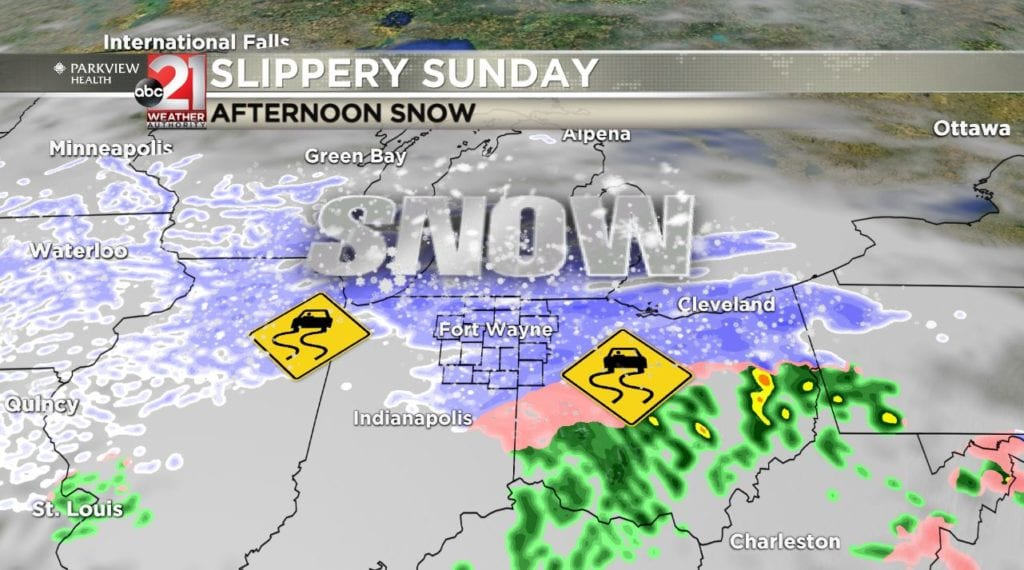 Slippery Sunday in store: Tracking accumulating afternoon snow