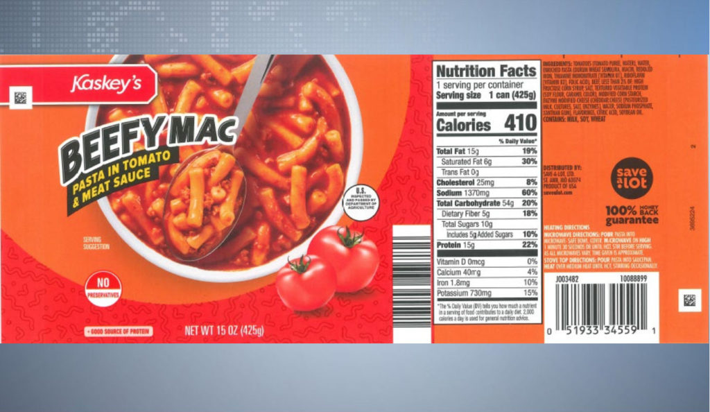 Beefy Mac recalled due to processing defect - WPTA
