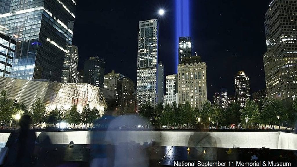 """The """"Tribute in Light"""" on the Anniversary of Sept 11th, Photo Date: Sept 11, 2016"""